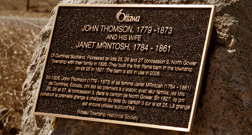 Thomson Plaque recognizing an early resident